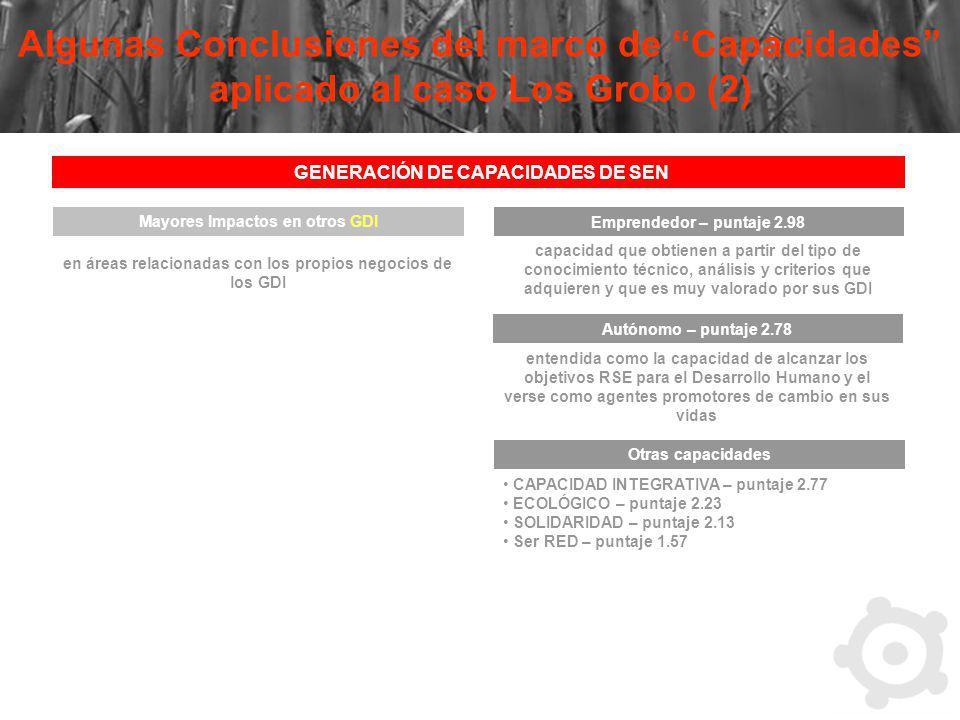 Algunas Conclusiones del marco de Capacidades aplicado al caso Los Grobo (2) GENERACIÓN DE CAPACIDADES DE SEN Mayores Impactos en otros GDI en áreas r