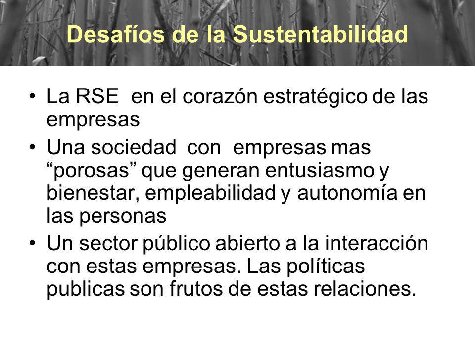 Desafíos La RSE en el corazón estratégico de las empresas Una sociedad con empresas mas porosas que generan entusiasmo y bienestar, empleabilidad y au