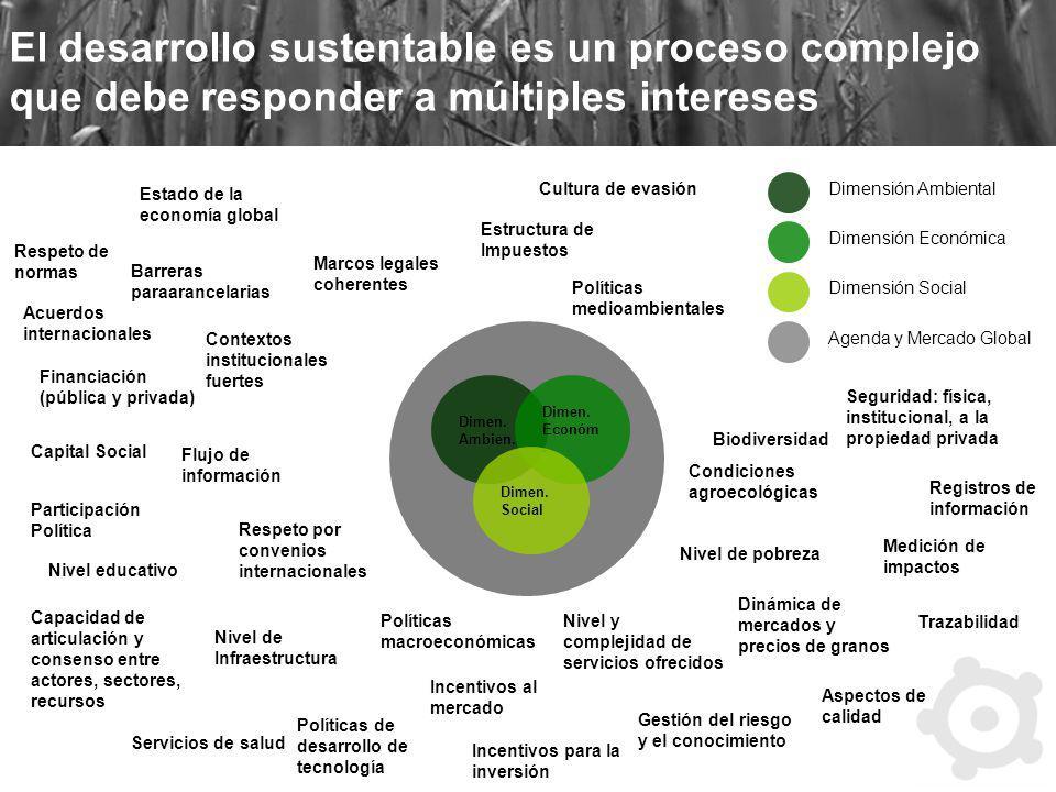 El desarrollo sustentable es un proceso complejo que debe responder a múltiples intereses Dimen. Ambien. Dimen. Económ. Dimen. Social Dimensión Ambien