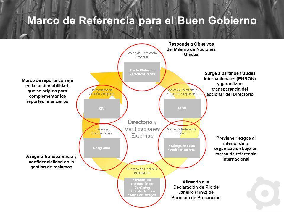 Marco de Referencia para el Buen Gobierno Responde a Objetivos del Milenio de Naciones Unidas Surge a partir de fraudes internacionales (ENRON) y gara
