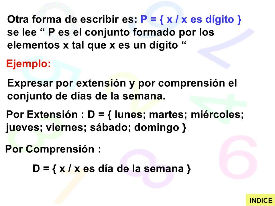 Otra forma de escribir es: P = { x / x es dígito } se lee P es el conjunto formado por los elementos x tal que x es un dígito Ejemplo: Expresar por ex