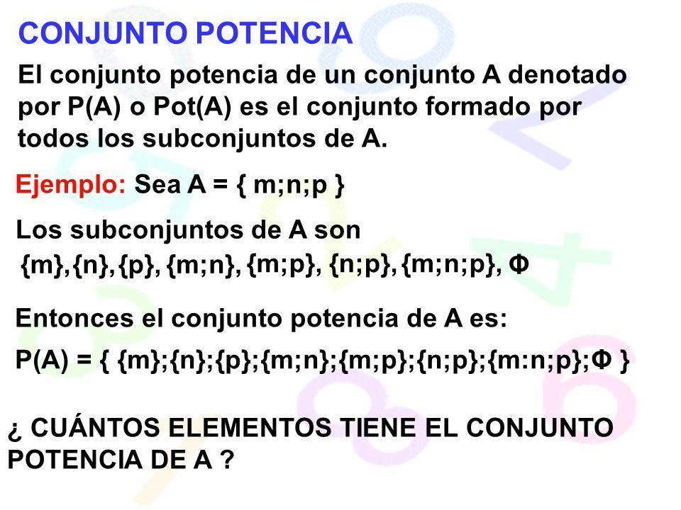 CONJUNTO POTENCIA El conjunto potencia de un conjunto A denotado por P(A) o Pot(A) es el conjunto formado por todos los subconjuntos de A. Ejemplo: Se