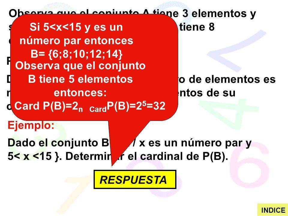 Observa que el conjunto A tiene 3 elementos y su conjunto potencia osea P(A) tiene 8 elementos. PROPIEDAD: Dado un conjunto A cuyo número de elementos