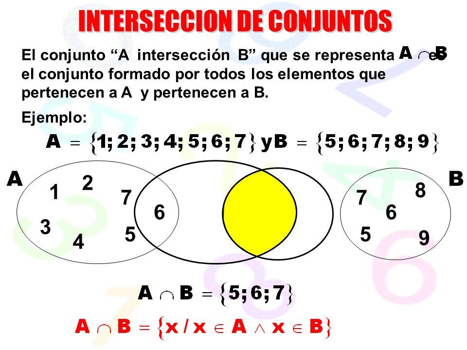 7 6 55 6 AB El conjunto A intersección B que se representa es el conjunto formado por todos los elementos que pertenecen a A y pertenecen a B. Ejemplo