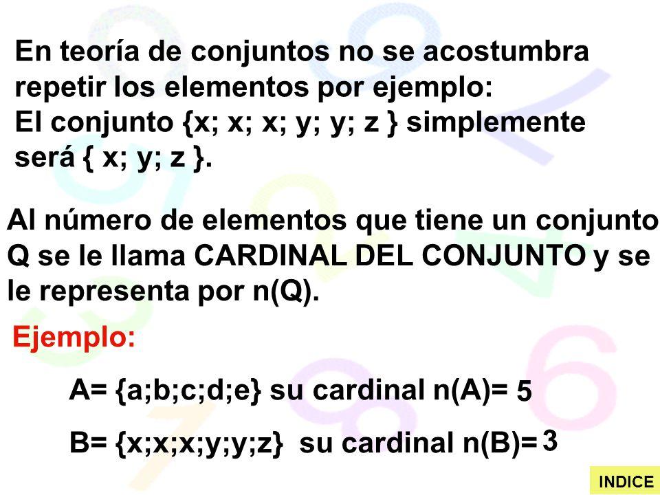 Ejemplo: A= {a;b;c;d;e} su cardinal n(A)= B= {x;x;x;y;y;z} su cardinal n(B)= En teoría de conjuntos no se acostumbra repetir los elementos por ejemplo