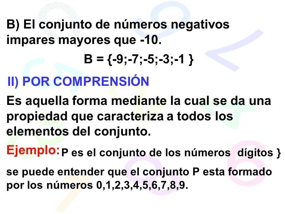 B) El conjunto de números negativos impares mayores que -10. B = {-9;-7;-5;-3;-1 } II) POR COMPRENSIÓN Es aquella forma mediante la cual se da una pro