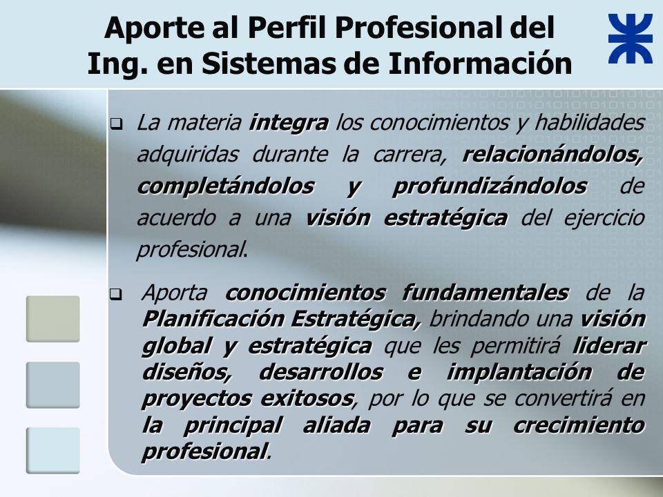 Aporte al Perfil Profesional del Ing.