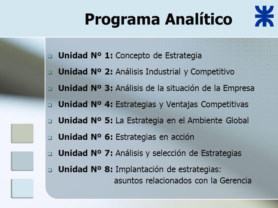 Programa Analítico Unidad Nº 1: Concepto de Estrategia Unidad Nº 2: Análisis Industrial y Competitivo Unidad Nº 3: Análisis de la situación de la Empresa Unidad Nº 4: Estrategias y Ventajas Competitivas Unidad Nº 5: La Estrategia en el Ambiente Global Unidad Nº 6: Estrategias en acción Unidad Nº 7: Análisis y selección de Estrategias Unidad Nº 8: Implantación de estrategias: asuntos relacionados con la Gerencia