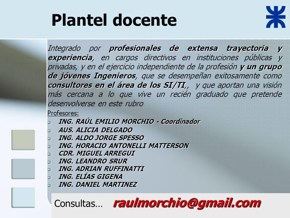 Plantel docente Profesores: ING. RAÚL EMILIO MORCHIO - Coordinador ING.