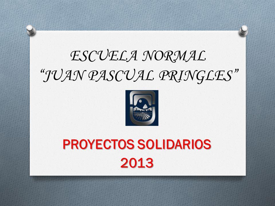 ESCUELA NORMAL JUAN PASCUAL PRINGLES PROYECTOS SOLIDARIOS 2013