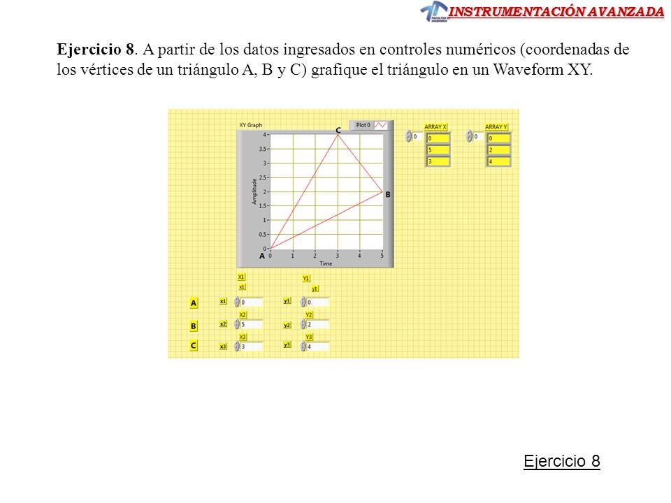 INSTRUMENTACIÓN AVANZADA Ejercicio 8. A partir de los datos ingresados en controles numéricos (coordenadas de los vértices de un triángulo A, B y C) g