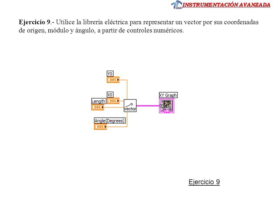 INSTRUMENTACIÓN AVANZADA Ejercicio 9.- Utilice la librería eléctrica para representar un vector por sus coordenadas de origen, módulo y ángulo, a part