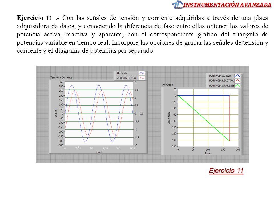 INSTRUMENTACIÓN AVANZADA Ejercicio 11.- Con las señales de tensión y corriente adquiridas a través de una placa adquisidora de datos, y conociendo la
