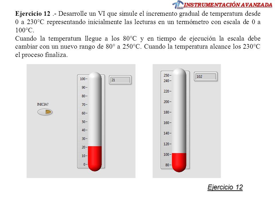 INSTRUMENTACIÓN AVANZADA Ejercicio 12 Ejercicio 12 Ejercicio 12.- Desarrolle un VI que simule el incremento gradual de temperatura desde 0 a 230°C rep