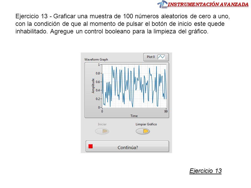 INSTRUMENTACIÓN AVANZADA Ejercicio 13 - Graficar una muestra de 100 números aleatorios de cero a uno, con la condición de que al momento de pulsar el