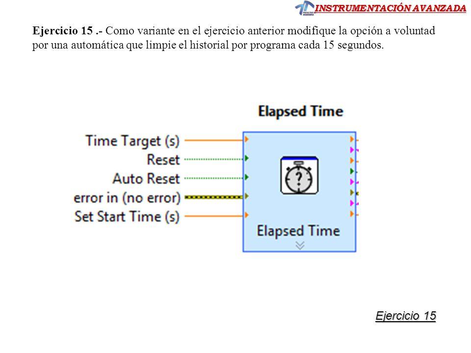 INSTRUMENTACIÓN AVANZADA Ejercicio 15.- Como variante en el ejercicio anterior modifique la opción a voluntad por una automática que limpie el histori