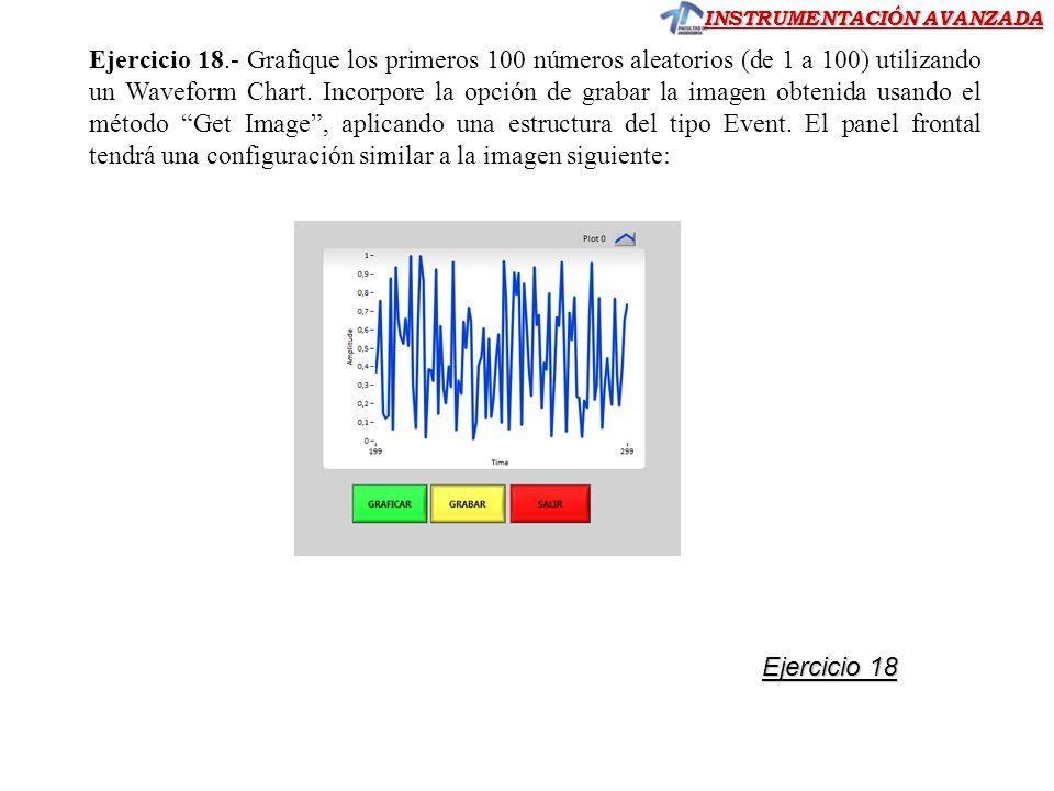 INSTRUMENTACIÓN AVANZADA Ejercicio 18.- Grafique los primeros 100 números aleatorios (de 1 a 100) utilizando un Waveform Chart. Incorpore la opción de