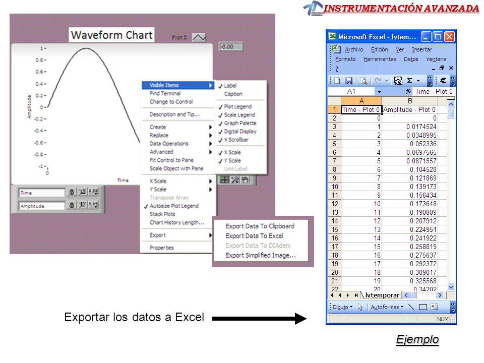 INSTRUMENTACIÓN AVANZADA Exportar los datos a Excel Ejemplo