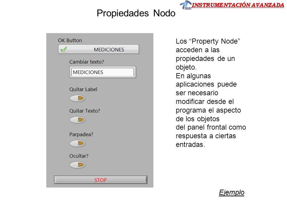 INSTRUMENTACIÓN AVANZADA Los Property Node acceden a las propiedades de un objeto. En algunas aplicaciones puede ser necesario modificar desde el prog