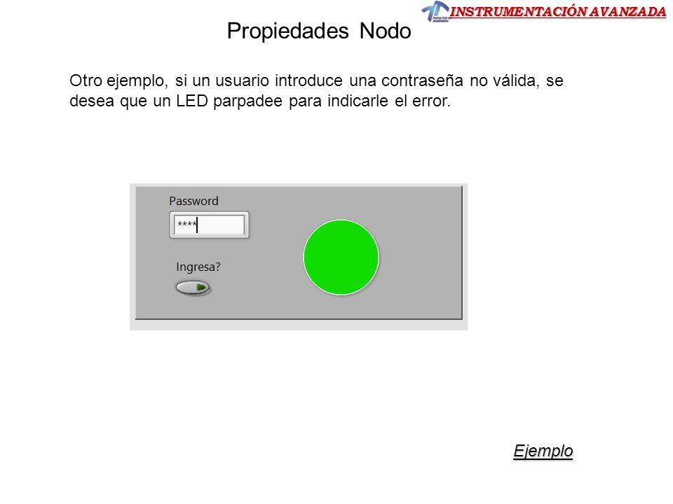INSTRUMENTACIÓN AVANZADA Otro ejemplo, si un usuario introduce una contraseña no válida, se desea que un LED parpadee para indicarle el error. Ejemplo