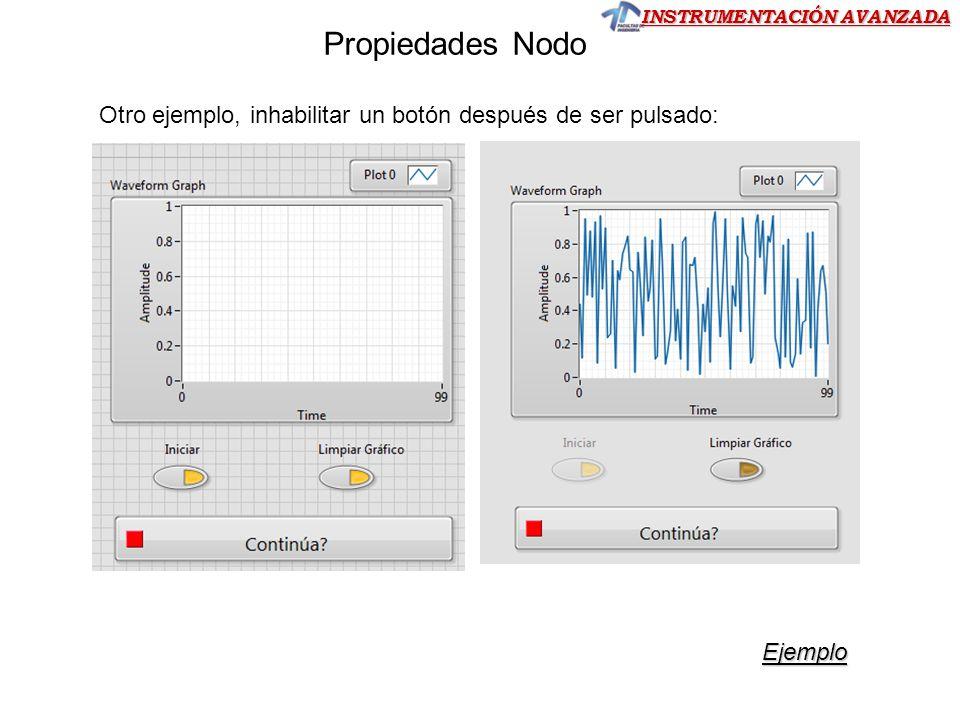 Otro ejemplo, inhabilitar un botón después de ser pulsado: Ejemplo Propiedades Nodo