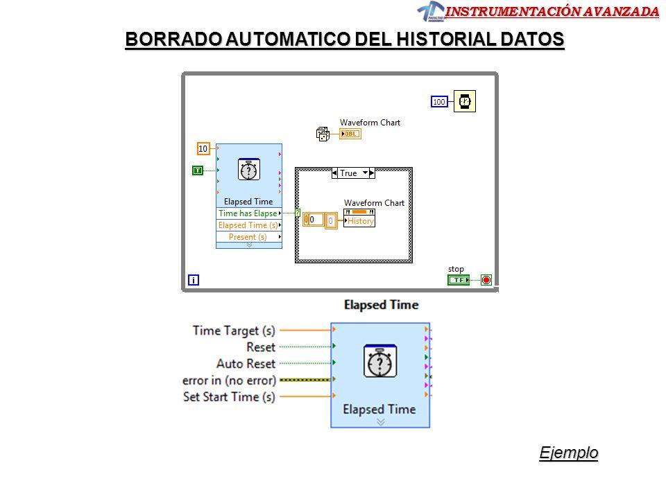 INSTRUMENTACIÓN AVANZADA Ejemplo BORRADO AUTOMATICO DEL HISTORIAL DATOS