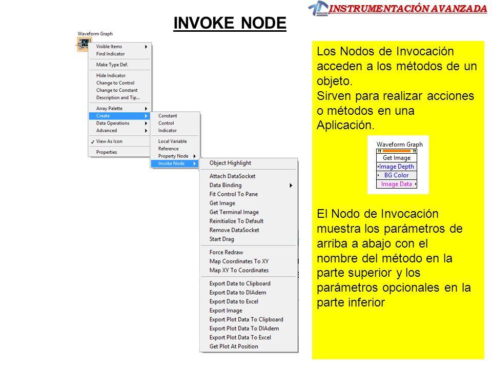 INSTRUMENTACIÓN AVANZADA INVOKE NODE Los Nodos de Invocación acceden a los métodos de un objeto. Sirven para realizar acciones o métodos en una Aplica
