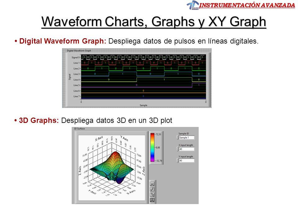 INSTRUMENTACIÓN AVANZADA Waveform Chart -Graph Ambos indicadores aceptan múltiples ondas o datos a la vez, superponiendo los gráficos y utilizando diferentes colores para representar cada uno.