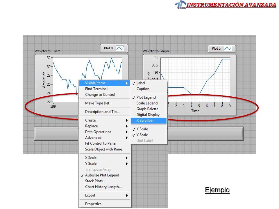 Por programa: Para exportar automáticamente Waveform Graph ó Chart a un archivo desde la ejecución del programa, se utilizan los nodos de invocación.