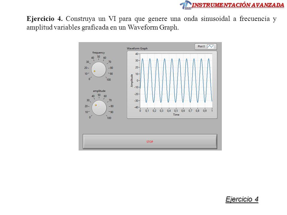 INSTRUMENTACIÓN AVANZADA Ejercicio 4. Construya un VI para que genere una onda sinusoidal a frecuencia y amplitud variables graficada en un Waveform G