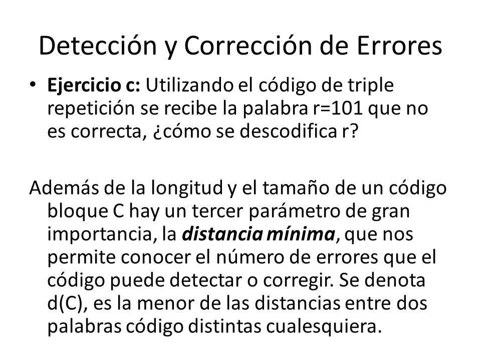 Detección y Corrección de Errores Ejercicio c: Utilizando el código de triple repetición se recibe la palabra r=101 que no es correcta, ¿cómo se desco