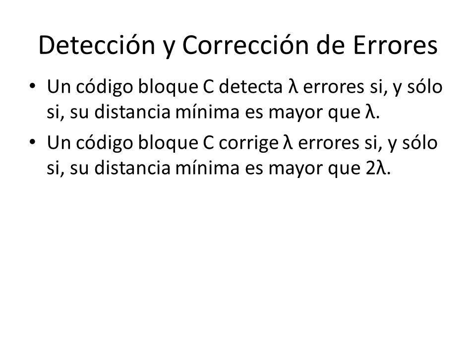 Detección y Corrección de Errores Un código bloque C detecta λ errores si, y sólo si, su distancia mínima es mayor que λ. Un código bloque C corrige λ