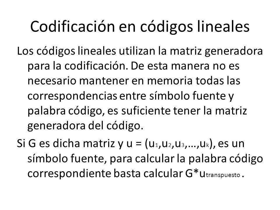 Codificación en códigos lineales Los códigos lineales utilizan la matriz generadora para la codificación. De esta manera no es necesario mantener en m
