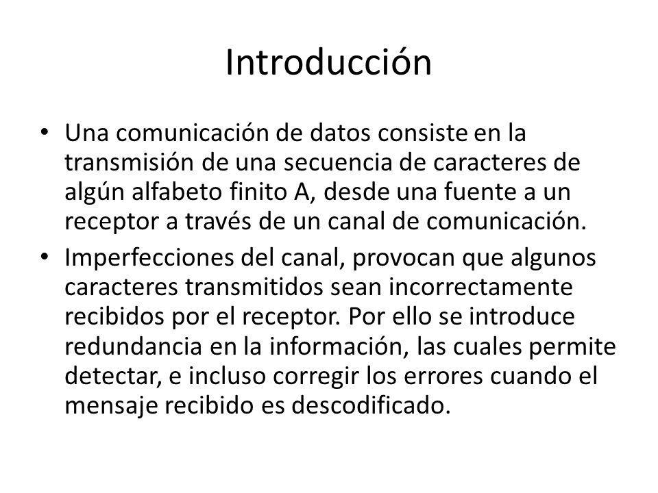 Introducción Una comunicación de datos consiste en la transmisión de una secuencia de caracteres de algún alfabeto finito A, desde una fuente a un rec