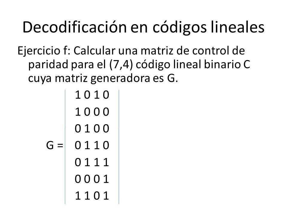 Decodificación en códigos lineales Ejercicio f: Calcular una matriz de control de paridad para el (7,4) código lineal binario C cuya matriz generadora