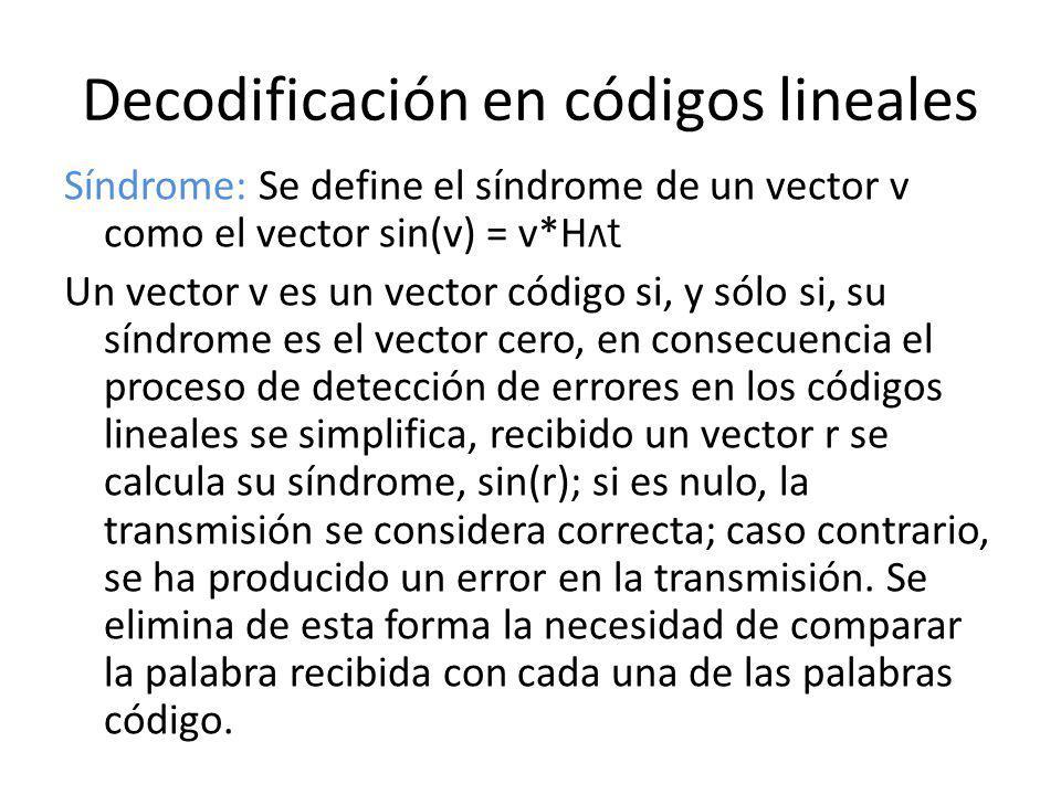 Decodificación en códigos lineales Síndrome: Se define el síndrome de un vector v como el vector sin(v) = v*H лt Un vector v es un vector código si, y