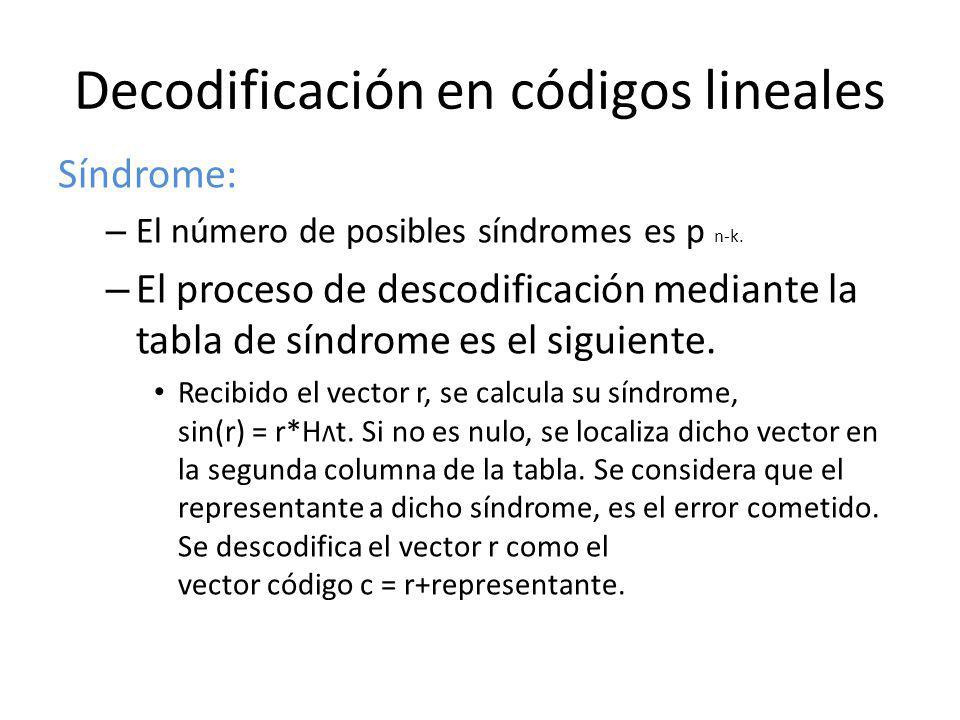 Decodificación en códigos lineales Síndrome: – El número de posibles síndromes es p n-k. – El proceso de descodificación mediante la tabla de síndrome