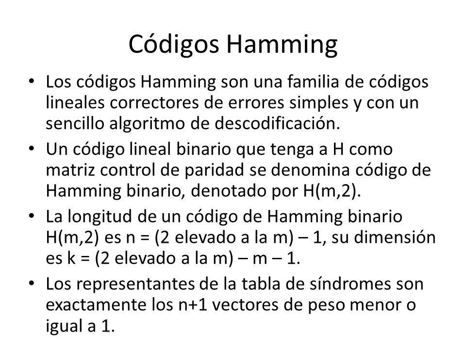 Códigos Hamming Los códigos Hamming son una familia de códigos lineales correctores de errores simples y con un sencillo algoritmo de descodificación.