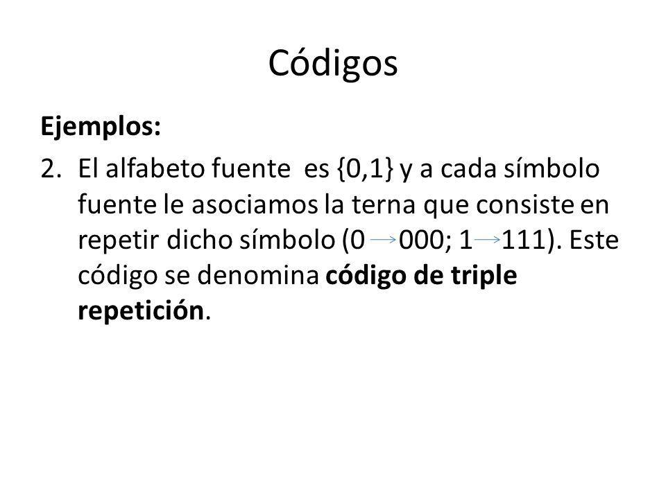 Códigos Ejemplos: 2.El alfabeto fuente es {0,1} y a cada símbolo fuente le asociamos la terna que consiste en repetir dicho símbolo (0 000; 1 111). Es