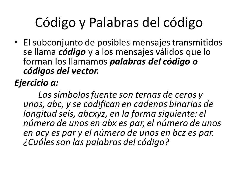 Código y Palabras del código El subconjunto de posibles mensajes transmitidos se llama código y a los mensajes válidos que lo forman los llamamos pala