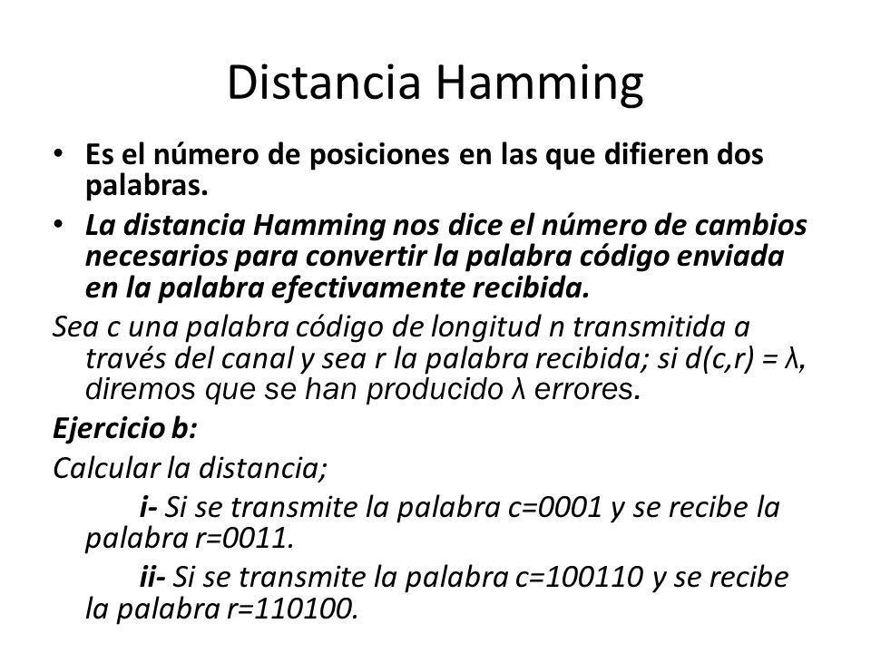 Distancia Hamming Es el número de posiciones en las que difieren dos palabras. La distancia Hamming nos dice el número de cambios necesarios para conv