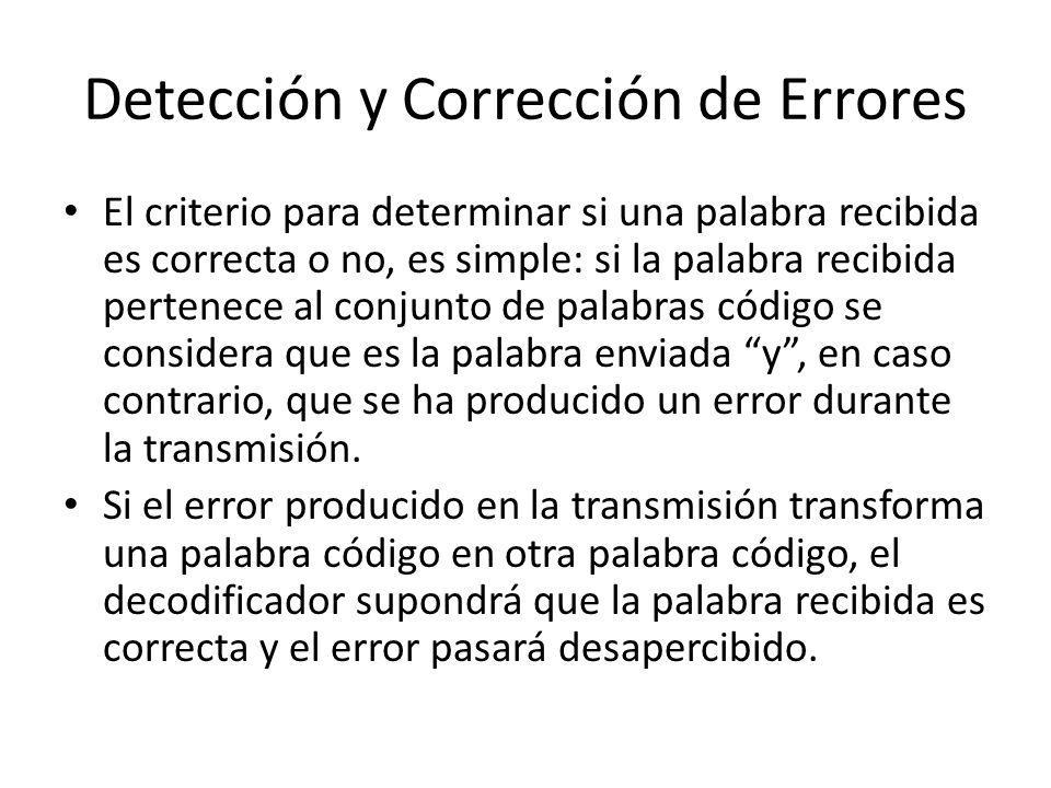 Detección y Corrección de Errores El criterio para determinar si una palabra recibida es correcta o no, es simple: si la palabra recibida pertenece al