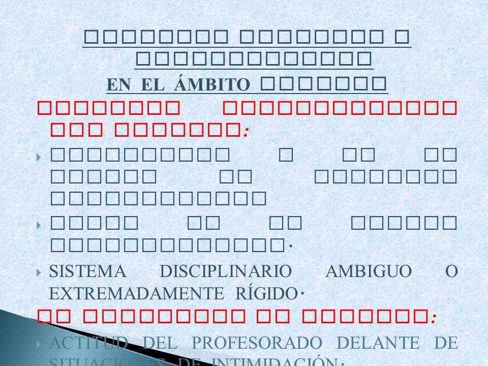 FACTORES CAUSALES O FAVORECEDORES EN EL ÁMBITO ESCOLAR ASPECTOS ORGANIZATIVOS DEL COLEGIO : EXISTENCIA O NO DE NORMAS DE CONDUCTA ESTABLECIDAS FALTA D