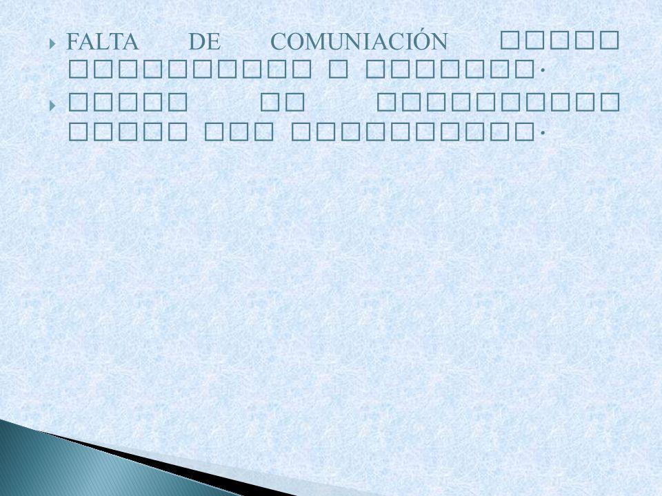 FALTA DE COMUNIACI Ó N ENTRE PROFESORES Y ALUMNOS. FALTA DE COHERENCIA ENTRE LOS PROFESORES.