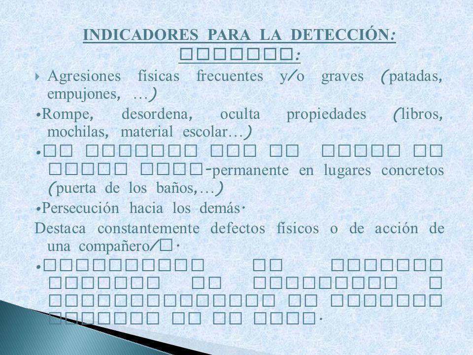 INDICADORES PARA LA DETECCI Ó N : AGRESOR : Agresiones físicas frecuentes y / o graves ( patadas, empujones, … ) Rompe, desordena, oculta propiedades