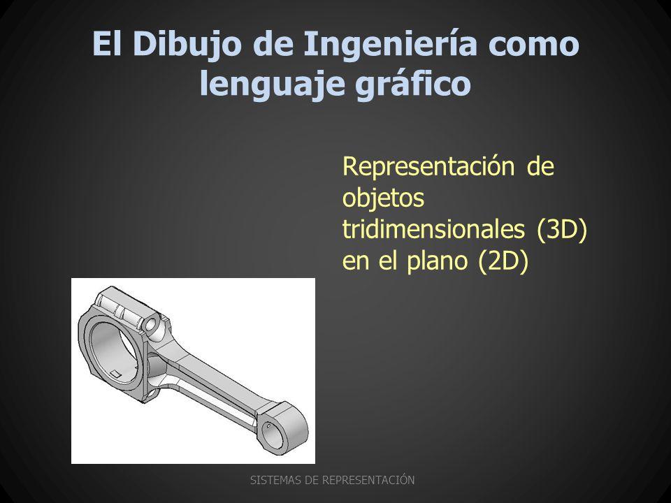 El Dibujo de Ingeniería como lenguaje gráfico SISTEMAS DE REPRESENTACIÓN Representación de objetos tridimensionales (3D) en el plano (2D)