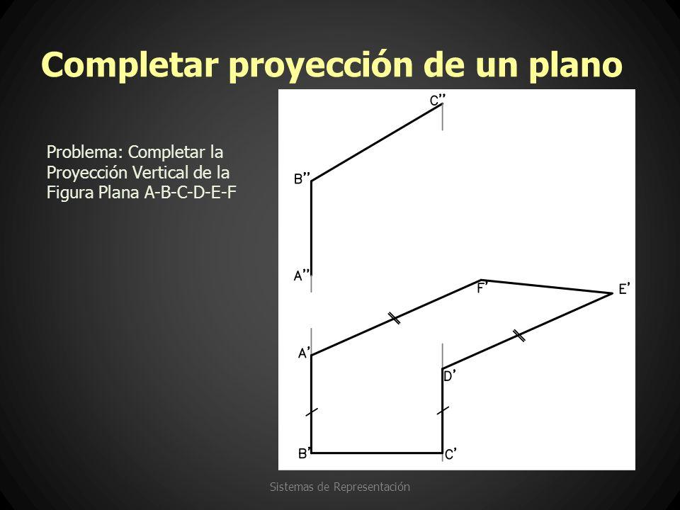 Completar proyección de un plano Sistemas de Representación Problema: Completar la Proyección Vertical de la Figura Plana A-B-C-D-E-F