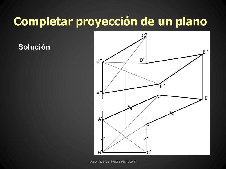 Completar proyección de un plano Sistemas de Representación Solución