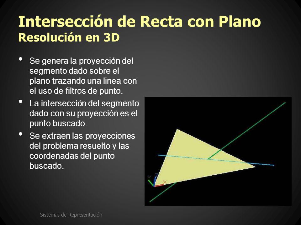 Intersección de Recta con Plano Resolución en 3D Se genera la proyección del segmento dado sobre el plano trazando una linea con el uso de filtros de