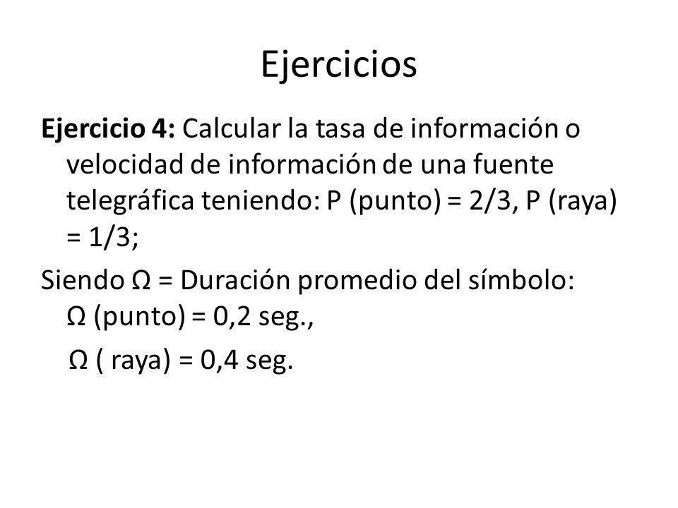 Ejercicios Ejercicio 4: Calcular la tasa de información o velocidad de información de una fuente telegráfica teniendo: P (punto) = 2/3, P (raya) = 1/3